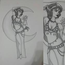 Moonlight bellydancer by Kalikah Jade - graphite on paper