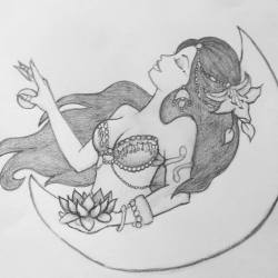 Moonlight bellydancer by Kalikah Jade - graphite on paper