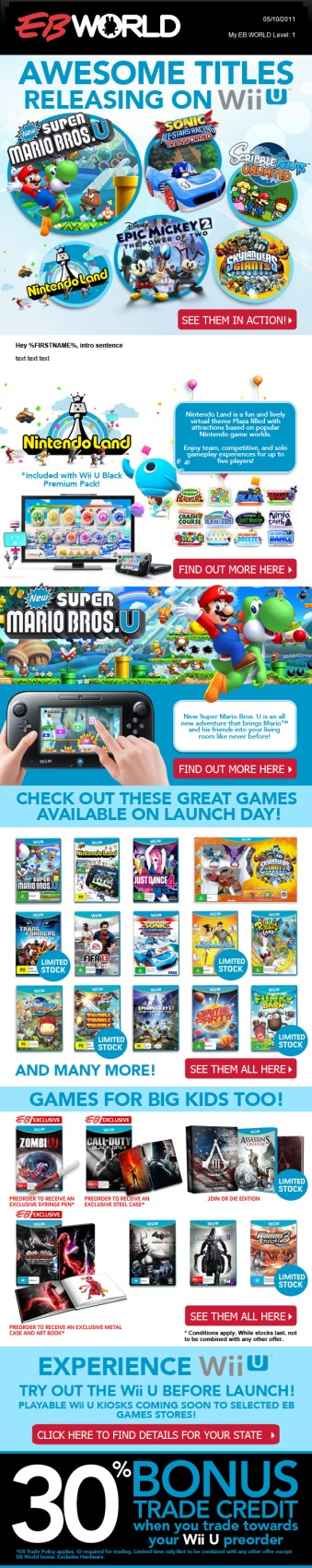 Nintendo WiiU launch edm