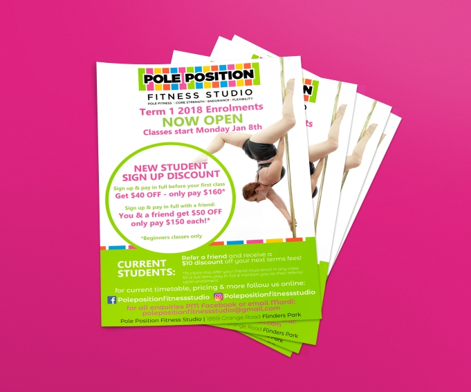 Pole Position Fitness Studio Flyers